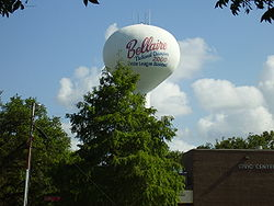 The Bellaire water tower, commemorating the city's little league team