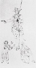 Gwardzista, kobieta z wiaderkiem i dziecko