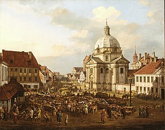 St. Kazimierz Church - New Town Market Square with St. Kazimierz Church, by Canaletto, 1770.