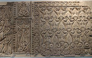 "Arabesque - Decorative yeseria panel from Abbasid Samarra, in Style C, or the ""bevelled style"", 9th century"