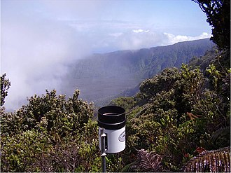 Big Bog, Maui - Rain gauge on a ridge overlooking the Big Bog