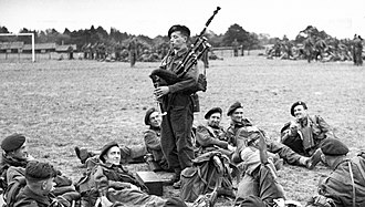 Great Highland bagpipe - Piper Bill Millin playing the bagpipes 1944
