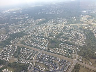 Bristow, Virginia - A birds-eye view of a residential part of Bristow.