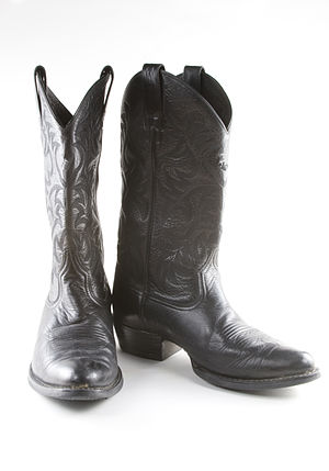 "Riding boot - Black leather western Cowboy boots with ""walking"" heels."