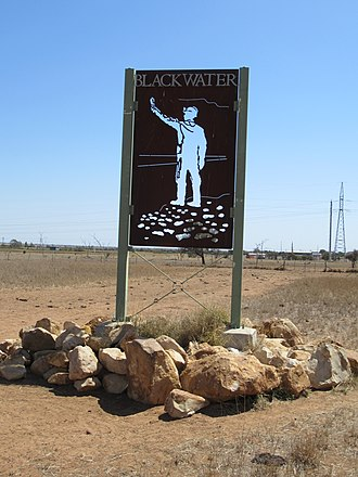 Blackwater, Queensland - Sign at the entrance to Blackwater, 2018