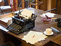 Bletchley Park Desk and Typewriter (21598716801).jpg