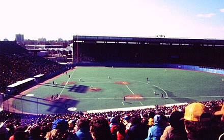 The Blue Jays' second game in its inaugural season. Unlike the first game played in a snow storm, this day was bright and sunny with the temperature well below freezing. Blue Jays v White Sox 1977.jpg
