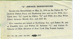 13 (BMT rapid transit service) - The service advisory discontinuing 13 service west of Rockaway Avenue in 1940
