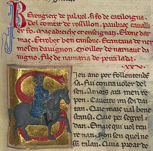"Berenguier de Palazol - Berengiers de palazol si fo de cataloigna, del comtat de rossillon, paubres cavallier fo. . . ""Berenguier de Palazol was from Catalonia, from the county of Roussillon, a poor knight he was. . ."""