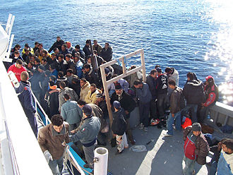 Refugee crisis - North African immigrants in Sicily.