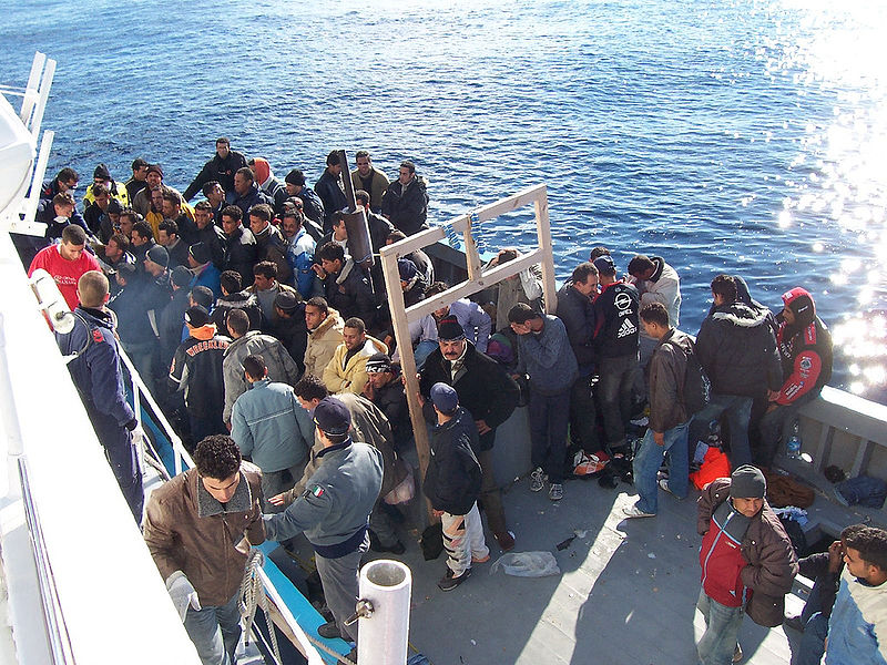 File:Boat People at Sicily in the Mediterranean Sea.jpg