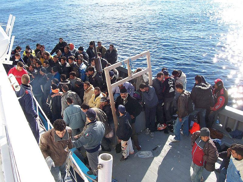 File:Boat People at Sicily in the Mediterranean Sea.jpg