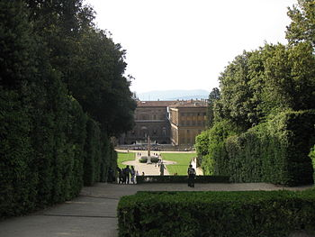 The back facade of Palazzo Pitti in Florence a...