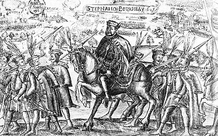 Stephen Bocskay, leader of Hungarian Calvinists in anti-Habsburg rebellion and first Calvinist prince of Transylvania Bocskai and his hajdu warriors.jpg