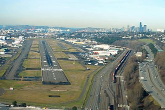 Boeing Field - Boeing Field with the Seattle skyline in the distance
