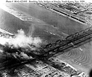Sino-Korean Friendship Bridge - Image: Bombing of Yalu River Bridges at Sinuiju Dandong Nov.1950