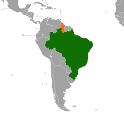 Map indicating locations of Brazil and Guyana