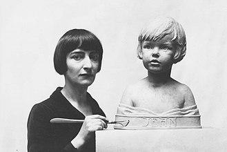 Brenda Putnam - Brenda Putnam with her Bust of Jean.