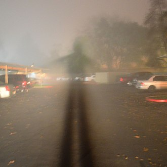 Brocken spectre - A semi-artificial Brocken spectre created by standing in front of the headlight of a car, on a foggy night.