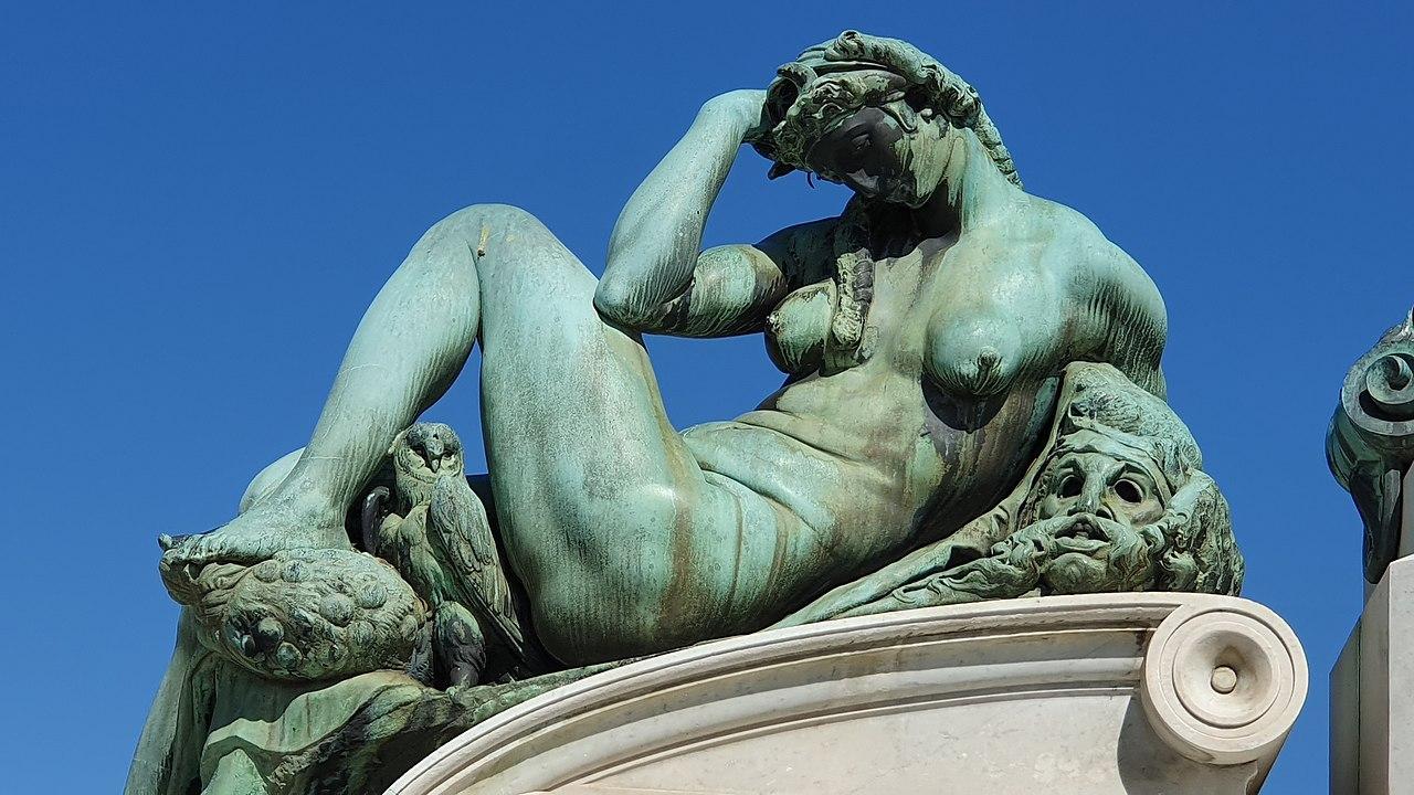 Piazzale Michelangelo, bronze replica of Night, after Michelangelo sculpture on the tomb Giuliano de' Medici,