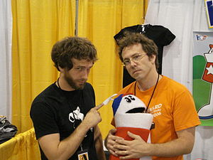 Strong Bad - Matt and Mike Chapman, creators of Strong Bad with Puppet Homestar