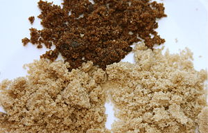 Brown sugar - Brown sugar examples: Muscovado (top), dark brown (left), light brown (right)