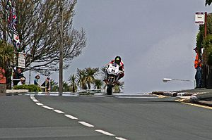 Bray Hill - Anstey crests Bray Hill on the sixth lap of the 2015 Superbike TT