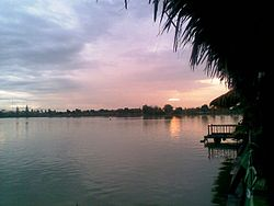 Lakeside restaurants at sunset. Bueng, Nong Kop, Ban Pong District
