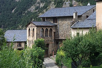Andorra - Manor house of Rossell family in Ordino, Casa Rossell, built in 1611. The family owned in 1619 also the largest ironwork forges in Andorra as Farga Rossell and Farga del Serrat.