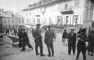 Lublin Ghetto - Two German soldiers in the Lublin Ghetto, May 1941