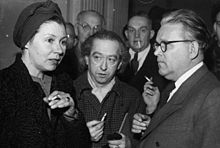 photograph of Veit Harland with the widow of Ferdinand Marian at Harlan's 1948 trial