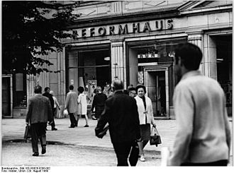 Reformhaus - Reformhäuser also existed in East Germany, such as this one on Karl-Marx-Allee in East Berlin photographed in 1969.