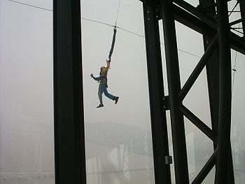 bungee jumping outside Macau Tower