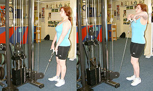 The upright row as performed on a cable machine.