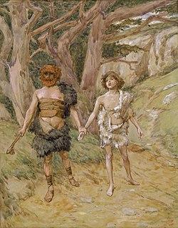 Representación de Caín conduciendo a Abel a la muerte, por James Tissot