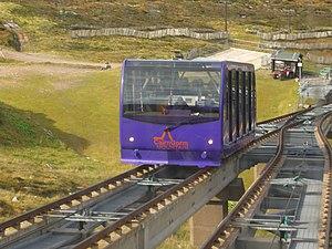 Cairn Gorm - Funicular railway cars passing halfway up.