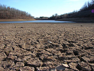 Droughts in California - A dry riverbed in California, 2009