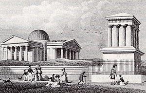 Edinburgh Astronomical Institution - Playfair Building and Playfair Monument in 1824