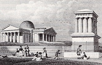 City Observatory - Playfair Building and Playfair Monument in 1824