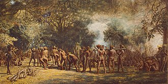 Human cannibalism - A cannibal feast on Tanna, Vanuatu, c. 1885–1889