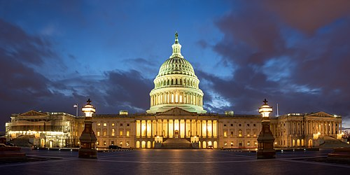 The United States Capitol, eastern exposure, at dusk
