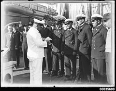 Captain Lorenz Peters addressing his officers on board MAGDALENE VINNEN (9061359521).jpg