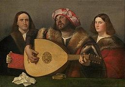 Toile représentant un joueur de luth, entouré d'un homme et d'une femme.