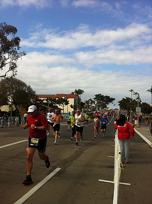Carlsbad 5000 - Amateurs running along Carlsbad Boulevard at the 2011 event.