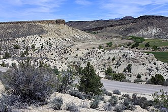 Carmel Formation - Carmel Formation near Gunlock, Utah. The unconformably overlying dark unit is the Upper Cretaceous Iron Springs Formation.