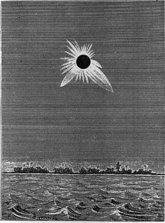 Caroline Island - French and American expeditions converged on Caroline Island in May 1883 to observe an unusually long total solar eclipse. An expedition member made this drawing.