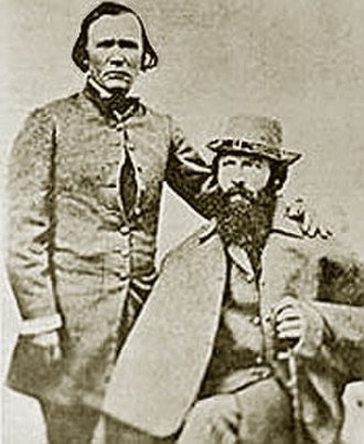John C. Frémont - Frémont (seated right) and Kit Carson, Frémont's expeditions guide.