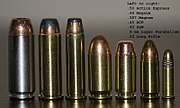 From left to right: .50 Action Express, .44 Magnum, .357 Magnum, .45 ACP, .40 S&W, 9mm Parabellum, .22 Long Rifle.