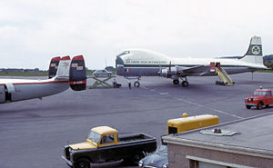 Aviation Traders Carvair - Aer Lingus Carvair loading a car at Bristol Airport, United Kingdom, in 1965