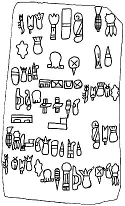 "An independent origin and development of writing is counted among the many achievements and innovations of pre-Columbian American cultures. The region of Mesoamerica produced a number of indigenous writing systems from the 1st millennium BCE onwards. What may be the earliest-known example in the Americas of an extensive text thought to be writing is illustrated above. These undeciphered glyphs, which appear on a stone tablet discovered in the late 1990s near San Lorenzo Tenochtitlán in Veracruz, Mexico, have been termed ""Olmec hieroglyphs"". The tablet has been indirectly dated from ceramic sherds found in the same context to approximately 900 BCE, around the time that Olmec occupation of San Lorenzo began to wane."
